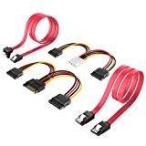 Inateck 2x SATA III cavo 48 cm, da 4pin ATX a 2x 15pin SATA adattatore corrente& 15pin SATA a 2x 15pin SATA cavo alimentazione -