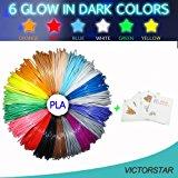 VICTORSTAR 3D Penna Filamento Ricarica PLA 26 Colori - 520 Piedi Lineari (160M) + Stampino Casuale, 6 Luce Nel Buio + 1 Legna +