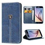 iDoer Custodia Protettiva Vintage libro Magnetico Portafoglio PU in Pelle Pratica Flip Case Cover per Samsung Galaxy S6 blu: Ama