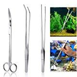 UEETEK Kit da 3 pezzi - set, serbatoio per pesci d'acquario in acciaio inossidabile, attrezzi a forbice per pettini Set Kit di a