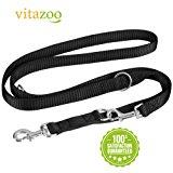 VITAZOO guinzaglio per cani in nero grafite, compatto e regolabile su misure diverse (1,4m - 2,1 m) | guinzaglio premium, guinza