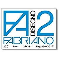 Fabriano F2 06201516, Album da Disegno, Formato 24 x 33 cm, Fogli Lisci Riquadrati, Grammatura 110gr-m2, 20 Fogli