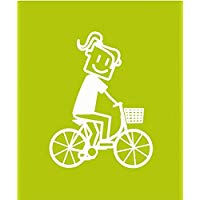 Altium 3007066 - Adesivo con ragazza in bici, colore: bianco