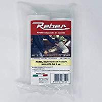 Reber 6615A Sacchetti Goffrati per Sottovuoto, 15x600 cm, 105 Micron, Anti-UV, 2 Rotoli, Trasparente