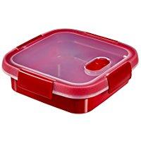 Keter Smart Microwave Quadrato, 0,6 litres, Rosso, 16x16x5 cm