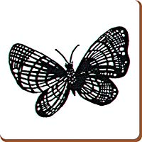Creative Tops Set of 4 LARGE Black & White BUTTERFLY COASTERS Badda Collection GAYONNES 1950s