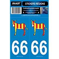 STICKZIF SR66 - 2 2 adesivi regione Dipartimento 66 ans Catalogna, Set di 2