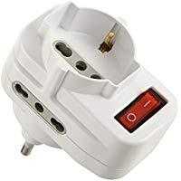 Electraline 71033 Adattatore Multipresa tripla con Interruttore, Spina Rotante, Bianco: Amazon.it: Fai da te