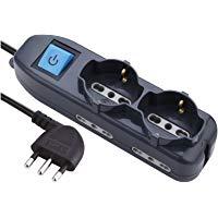 Electraline 62000 Multipresa 6 posti 2 schuko + 4 bivalenti 10-16A: Amazon.it: Elettronica