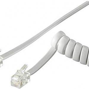 Goobay 68601 Cavo a Spirale per Cornetta Telefono CCA, Alluminio Rivestito di Rame, Bianco, 4m Lunghezza del Cavo