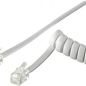 Goobay 68872 Cavo a Spirale per Cornetta Telefono CCA, Alluminio Rivestito di Rame, Bianco, 7m Lunghezza del Cavo
