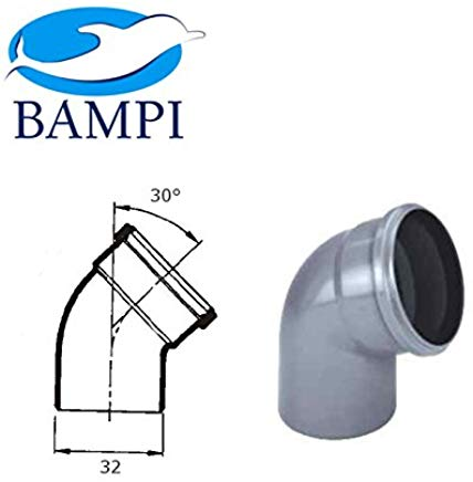Bampi BBO032030 Raccordo HTB Curva Diametro 32mm, 30 Gradi, Bianco-Grigio-Nero