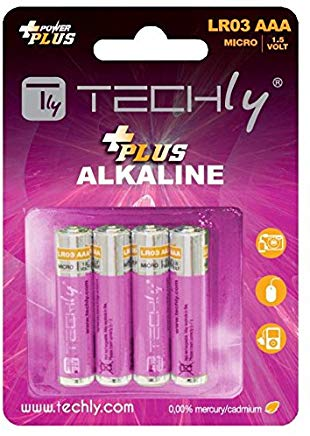 Techly 021031 Blister 4 Batterie Power Plus Mini Stilo AAA Alcaline LR03 1.5V
