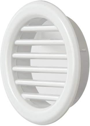 La Ventilazione T3B Griglia di Ventilazione Tonda in Plastica da Incasso, Bianco, 40 mm