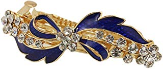 Sourcingmap - Molletta per capelli in metallo, decorazione con strass, motivo: fiocco, colore: dorato