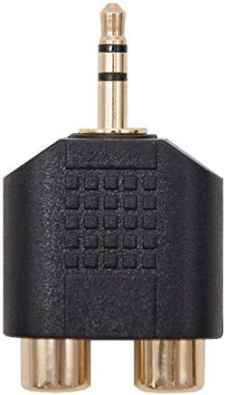 NanoCable 10.27.0015 - Adattatore audio stereo 2xRCA a Jack, 2xRCA-F-JACK 3,5-M, femmina-maschio, nero
