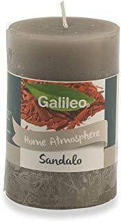 Galileo Casa Sandalo Candela Profumata, Cera, Grigio, 4,8x4,8x7,5 cm