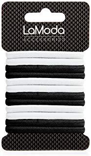 Lamoda spessore elastico Ponytailers, nero-bianco, confezione da 12