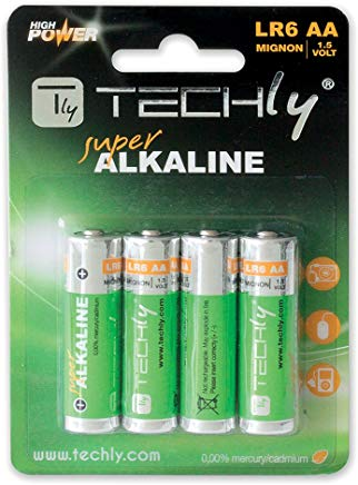 Techly 306974 Blister 4 Batterie High Power Stilo AA Alcaline LR06 1,5V