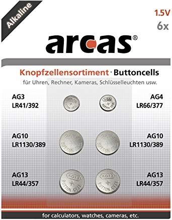 Arcas 12706000 AG Set di batterie alcaline a bottone 6 pezzi (1 x AG3, 1 x AG4, 2 x AG10, 2 x AG13)
