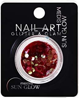 Medis Sun Glow Glitter & Glam Nail Art effetto metallico di scintillio fiocchi Honeycomb Rosso Scuro