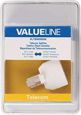 Valueline VLTB90995W Sdoppiatore Telefonico RJ11 Maschio - 2X Femmina, Bianco