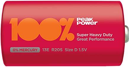 Well Bat-SH2 PP Carbon Zinc Battery R20 R20-ZC (D), Shrink, Peak power trasparente