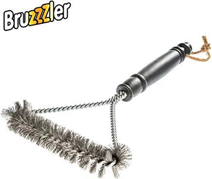 Bruzzzler Spazzola per grill con setole in acciaio inox, 3 lati, 28,0 x 16,8 x 3,6 cm