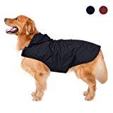 Cappotto impermeabile per cani con cappuccio e cablaggio fori e cinture di sicurezza riflettenti, ultrasottile traspirante 100%