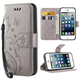 Cover iPhone 5S,iDoer Retro Farfalla Fiore Modello Stampata Design Con Cinturino da Polso Custodia in pelle Protettiva Cuoio Por