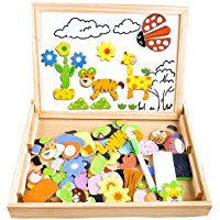 Puzzle Magnetico Legno, COOLJOY Giocattolo di Legno Bambini con Lavagna a Double Face , Apprendimento Educativo Bambini 3 anni 4