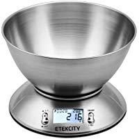 Etekcity Bilancia da Cucina Elettronica in Acciaio Inossidabile 5kg- 11lb,Ciotola Mescolata,Timer Allarme,Indicatore Temperatura