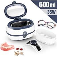 Uten Pulitore ad Ultrasuoni da 600ML con Cesto di Pulizia per Occhiali, Dentiere, Orologi e Altro. Frequenza ultrasuoni 40kH 35W