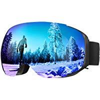 ENKEEO Occhiali da Sci Lente Magnetica Staccabile Doppio Strato Anti-Nebbia Anti-Vento 100% Protezione UV400, Telaio Curvabile,