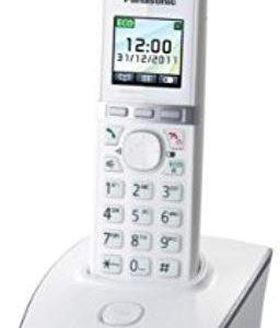 Panasonic KX-TG8051JTW Telefono Cordless Digitale (DECT) Singolo, Ampio Schermo LCD a Colori, Schermo e Tasti Retroilluminati, S