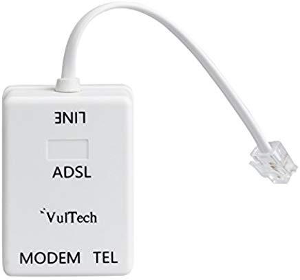 Vultech SN20315 Filtro ADSL RJ11 Splitter per Telefono e Modem, Bianco