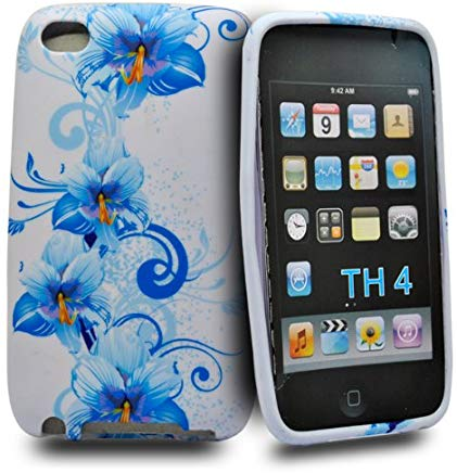 Accessory Master -Custodia in Silicone per Apple iPod Touch 4, fantasia fiori sintetica, colore: blu