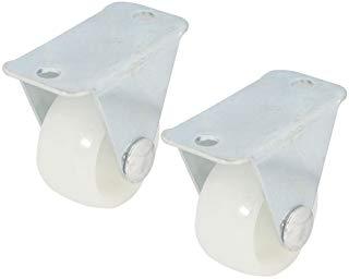 Sourcingmap - 2pezzi di plastica 25mm x 14 millimetri light duty fissato progettato ruota caster bianco