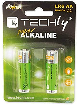 Techly 306967 Blister 2 Batterie High Power AA Stilo Alcaline LR06 1,5V