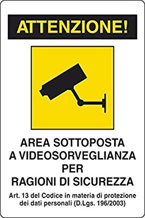 Cartelli Segnali Plastica Videosorveglianza