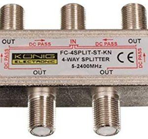 Konig FC-4SPLT-ST-KN Splitter F per Satellite, 5-2400 MHz, Acciaio