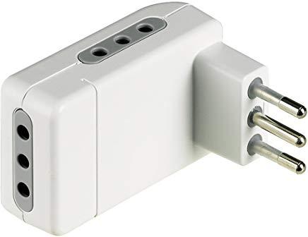 BTicino S3605DE Adattatore salvaspazio Corner-3 Prese Spina 10A-Colore Bianco