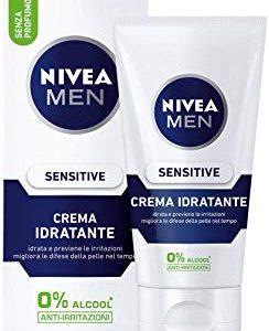 Nivea Men Sensitive Crema Idratante Uomo, Idrata e Previene le Irritazioni, senza Profumo, 75 ml