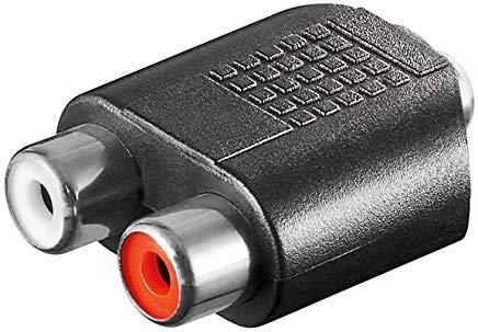 Goobay 11877 Adattatore RCA, presa jack AUX da 3 5 mm a 2 presa stereo - Presa 3 5 mm (3-pin  stereo)  maggiore di  2 prese RCA