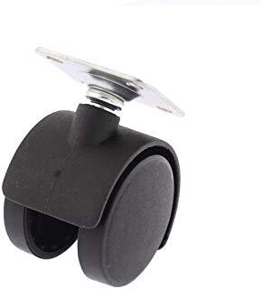 Sourcingmap A15110600UX0442 3,8 cm diametro quadrato sedia da scrivania Wheel top piastra girevole Caster supporto - Nero