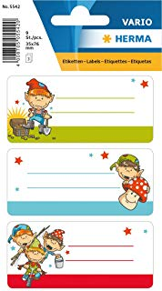HERMA 5542 Etichette Nome Quaderno per la scuola, motivo: Funny Friends, formato 7,6 x 3,5 cm, contenuto confezione: 9 Etichette