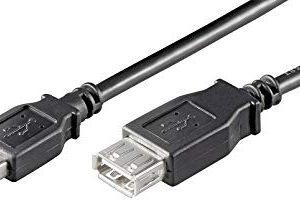 Ewent Cavo USB 2.0 Tipo A-Maschio a A-Femmina, Doppia Schermatura AWG 28 in Rame, Rata di Trasferimento fino a 480Mbit, 0,5m, Ne