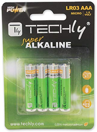 Techly 307001 Blister 4 Batterie High Power Mini Stilo AAA Alcaline LR03 1.5V