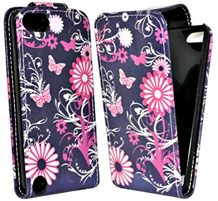 Accessory Master  - Custodia in Pelle per Apple iPod Touch 5, Motivo: Farfalle e Fiori, Colore: Rosa e Nero