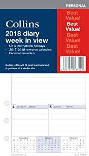Ricariche per Agenda 2018 Collins, modello PR2100-18, con vista giornaliera. Visualizzazione settimanale